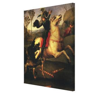 St. George Fighting the Dragon, Raphael, Raffaello Canvas Print