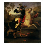 St. George Fighting the Dragon, Raphael, Raffaello Print