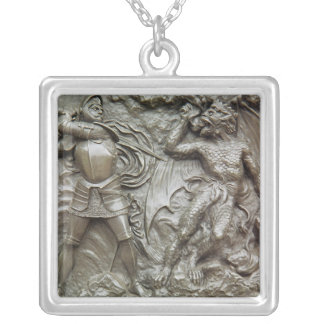 St. George Fighting the Dragon Silver Plated Necklace
