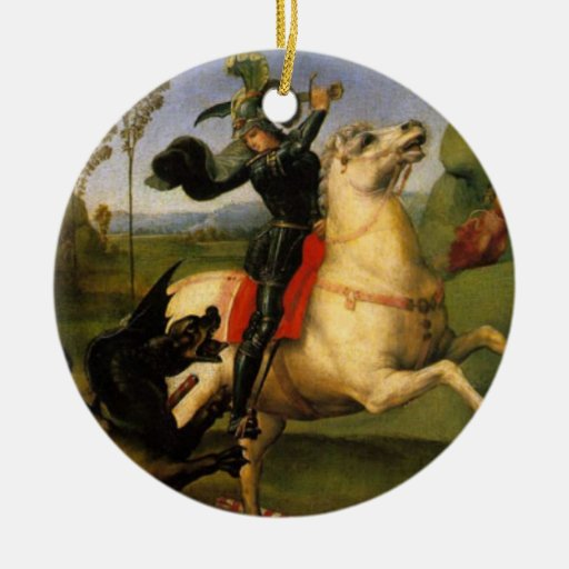 St. George Fights the Dragon Fine Art Double-Sided Ceramic Round Christmas Ornament
