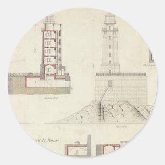 St. George Reef Lighthouse Schematics Classic Round Sticker