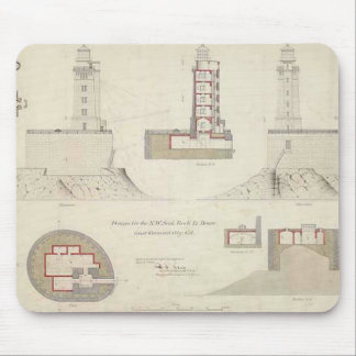 St. George Reef Lighthouse Schematics Mouse Pad