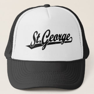 St. George script logo in black distressed Trucker Hat