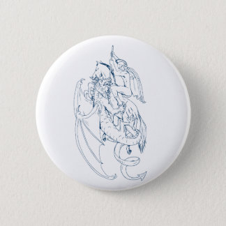 St. George Slay Dragon Drawing Pinback Button