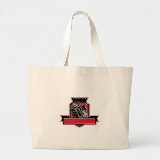 St George Slaying Dragon Crest Retro Large Tote Bag