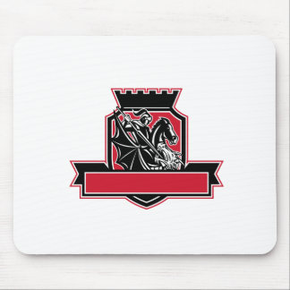 St George Slaying Dragon Crest Retro Mouse Pad