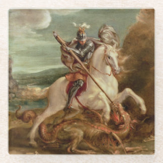 St. George slaying the dragon, (oil on panel) Glass Coaster