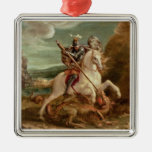 St. George slaying the dragon, (oil on panel) Square Metal Christmas Ornament