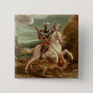 St. George slaying the dragon, (oil on panel) Pinback Button