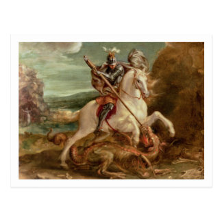 St. George slaying the dragon, (oil on panel) Postcard