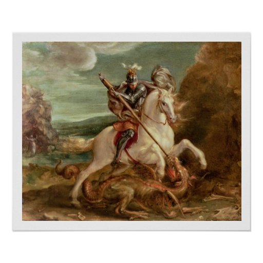 St. George slaying the dragon, (oil on panel) Print