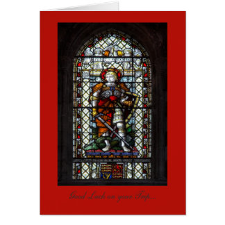 St George stained glass - Good Luck on Your Trip Card