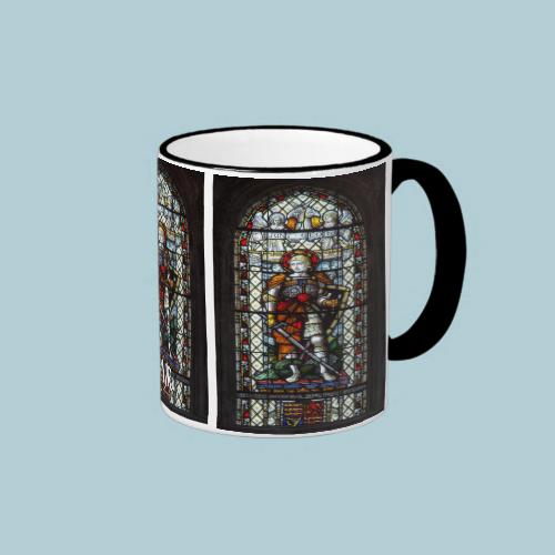 St George stained glass window - Monogram Mugs