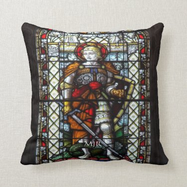 St George stained glass window - Monogram Pillow