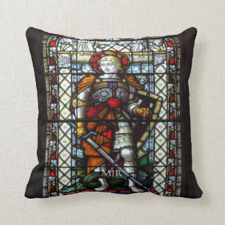 St George stained glass window - Monogram Throw Pillow