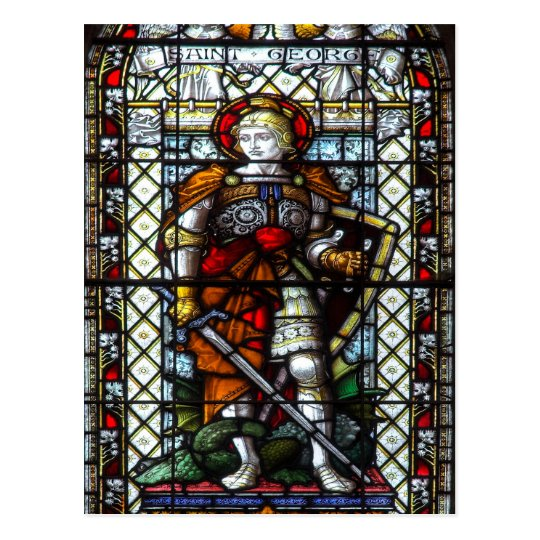 St George stained glass window Postcard