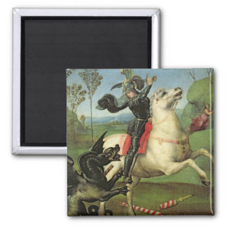 St. George Struggling with the Dragon 2 Inch Square Magnet