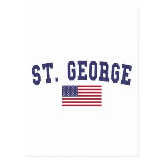 St. George US Flag Postcard