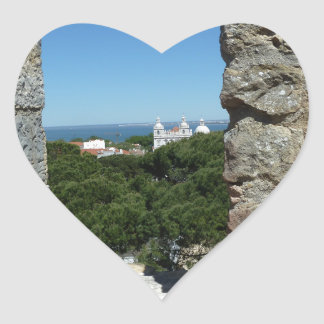St George's Castle greeting card (Lisbon,Portugal) Heart Sticker