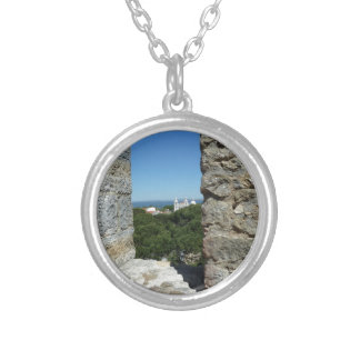 St George's Castle greeting card (Lisbon,Portugal) Silver Plated Necklace