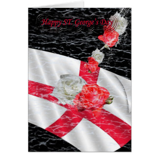 St. George's Day English Flag and roses white and Card