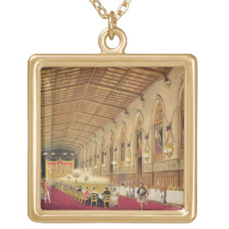 St George's Hall, Windsor Castle, 1838 (colour lit Gold Plated Necklace