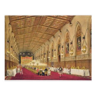 St George's Hall, Windsor Castle, 1838 (colour lit Postcard