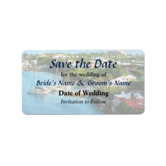 St. George's Harbour, Bermuda Save the Date Custom Address Labels