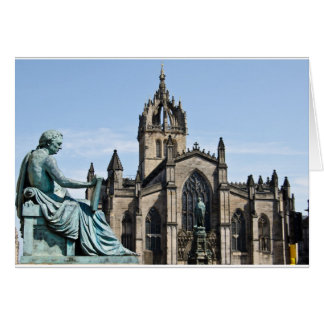 St. Giles Cathedral and David Hume Statue Card