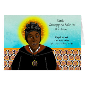 St. Giuseppina Bakhita, Feast Day Card in Italian
