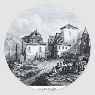 St. Goar um 1835, engraving by J.W. Archer Classic Round Sticker