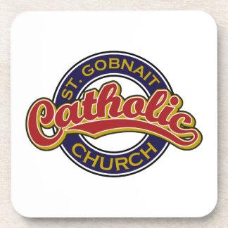 St. Gobnait Catholic Church Red on Blue Drink Coaster