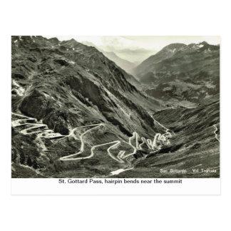 St. Gottard Pass, hairpin bends near the summit, Postcard