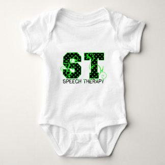 st green and black polka dots tee shirt