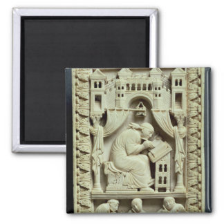 St. Gregory writing with scribes below 2 Inch Square Magnet
