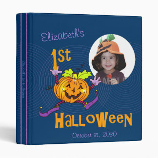 !st Halloween Pumpkin Custom Photo 1 Inch 3 Ring Binder