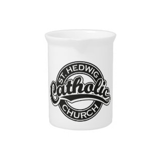 St. Hedwig Catholic Church Black and White Drink Pitchers
