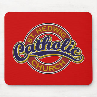 St Hedwig Catholic Church Blue on Red Mouse Pads