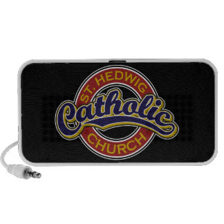 St. Hedwig Catholic Church Blue on Red Portable Speakers