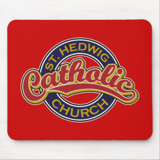 St Hedwig Catholic Church Red on Blue Mouse Pad