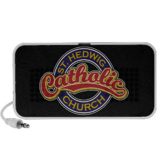 St. Hedwig Catholic Church Red on Blue Portable Speakers