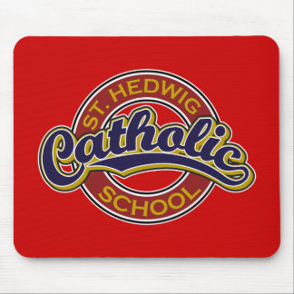 St Hedwig Catholic School Blue on Red Mouse Pads