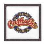 St. Hedwig Catholic School Red on Blue Premium Trinket Boxes