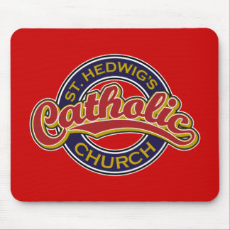 St Hedwig s Catholic Church Red on Blue Mouse Pad