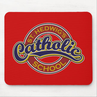 St Hedwig s Catholic School Blue on Red Mousepads