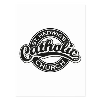 St. Hedwig's Catholic Church Black and White Postcard
