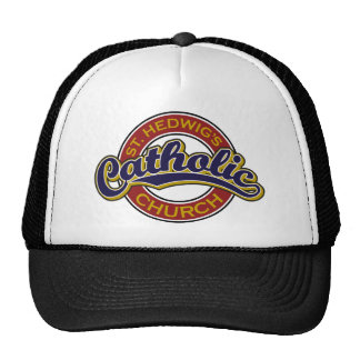 St. Hedwig's Catholic Church Blue on Red Trucker Hat
