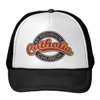 St. Hedwig's Catholic Church Red on Blue Trucker Hat