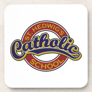 St. Hedwig's Catholic School Blue on Red Drink Coaster