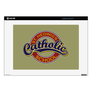 """St. Hedwig's Catholic School Blue on Red 15"""" Laptop Decal"""